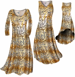 SOLD OUT! SALE! Tan With Gold Metallic Little Leopard Spots Horizontal Slinky Print Plus Size & Supersize Dress XL