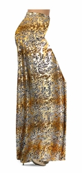CLEARANCE! Tan With Gold Metallic Little Leopard Spots Horizontal Slinky Print Plus Size & Supersize Pants 0x