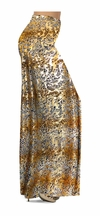 FINAL CLEARANCE SALE! Tan With Gold Metallic Little Leopard Spots Horizontal Slinky Print Plus Size & Supersize Pants 0x