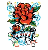 SOLD OUT! Tattoo Love Rose Plus Size & Supersize T-Shirts  S M L XL 2x 3x 4x 5x 6x 7x 8x (All Colors)