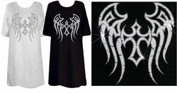 SALE! Tattoo Prints! Silver Cross-Wings Back Print Plus Size & Supersize T-Shirts S M L XL 2x 3x 4x 5x 6x 7x 8x (All Colors)
