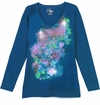 CLEARANCE! Teal With Stencil Flowers Glittery Floral Long Sleeve Plus Size T-Shirt 3x