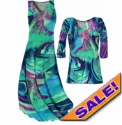 SOLD OUT! CLEARANCE! Teal Green and Purple Wild Print Slinky Plus Size & Supersize Dresses Tunic Tops & Pants - 3x