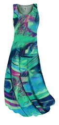 SOLD OUT! SALE! Teal Green and Purple Wild Print Slinky Plus Size Supersize Tank Dress 4x