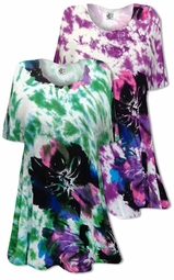 SOLD OUT! CLEARANCE! Big Flowers Poly Cotton Print Plus Size Supersize Tie Dye T-Shirts 3x 4x