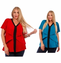 SALE! Teal or Red Plus Size Layered Ruffled Slinky Top 4x