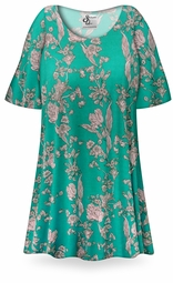 SOLD OUT! SALE! Teal Vintage Blossoms Print Plus Size & Supersize Extra Long T-Shirts 8x