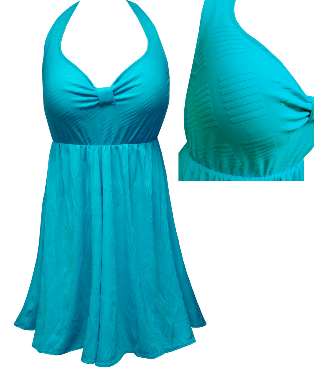 6107e0ce0f Teal With Lines Print Plus Size Halter SwimDress Swimwear Swimsuit 1x