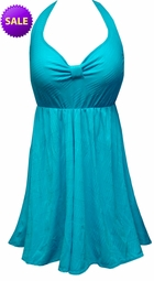 CLEARANCE! Teal With Lines Print Plus Size Halter SwimDress Swimwear Swimsuit 1x