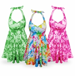 FINAL CLEARANCE SALE! Tie Dye Plus Size & SuperSize Cotton Halter Top 7x