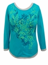 SOLD OUT! SALE! Turquoise Butterflies Glittery Long Sleeve Plus Size Shirt 1x & 2x