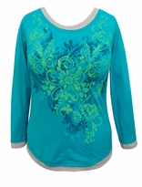 SALE! Turquoise Butterflies Glittery Long Sleeve Plus Size Shirt 1x & 2x