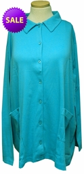 SOLD OUT! SALE! Turquoise Cotton Blend Button Up Long Sleeve Plus Size Top 4x