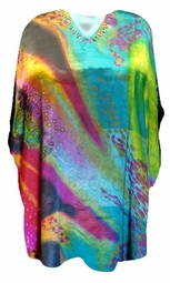 SOLD OUT! SALE! Turquoise Tranquil Teal Print Plus Size & Supersize Caftan Shirt Fits 1x-6x