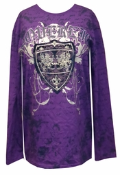 SOLD OUT! Vintage Couture Kings Crown Purple Long Sleeve Print on Both Sides XL