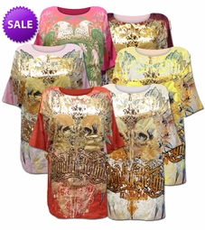 SOLD OUT! Vintage Couture Revolution Gold Foil All Over Print Plus Size T-Shirts
