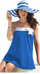 SOLD OUT! CLEARANCE! Vivid Blue With Bow Plus Size Swimdress 3x