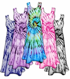 CLEARANCE! Vivid Swirl Cotton Tie Dye Plus Size & Supersize Princess Cut Tank Dress 2x 8x