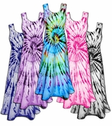 CLEARANCE! Vivid Swirl Cotton Tie Dye Plus Size & Supersize Princess Cut Tank Dress 0x 2x 4x 8x