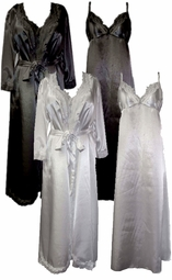 CLEARANCE! Wedding Night Lace Trim Black or Royal Blue Plus Size & Supersize Satin Robe and Nightgown Set  5x
