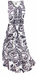 SOLD OUT! White & Black Persian Paisley Slinky Plus Size Supersize Dress