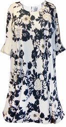 SOLD OUT! SALE! White Black Tan Floral Plus Size Supersize A Line Short Sleeve Tunic Top 5x
