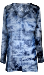 SOLD OUT! Navy Tie Dye V Neck Long Sleeve Plus Size T-Shirt 5XL