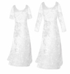 CLEARANCE! White Crush Velvet Plus Size Princess Cut Long Sleeve or Tank Dresses 2x 4x