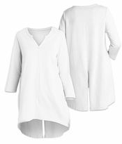 SALE! White Notch Front Plus Size Tunic Top 4x 5x