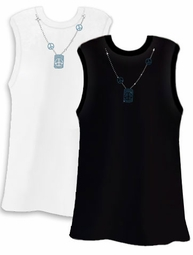 SALE! PEACE! Pretty Shiny Sparkly Rhinestuds Peace Blue Neckline White or Black Plus Size Tank Top 2x