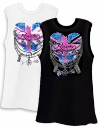 SALE! Union Jack Royalty Heart and Chains White or Black Plus Size Tank Top 2x 3x 4x
