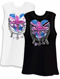 FINAL CLEARANCE SALE! Union Jack Royalty Heart and Chains White or Black Plus Size Tank Top 2x 3x