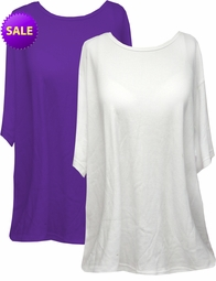 SOLD OUT! White or Purple Plus Size Petite Cotton Short Sleeve Shirts 5xP