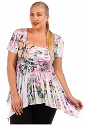 SOLD OUT! SALE! White With Floral Sublimation Print Plus Size Babydoll Top 4x