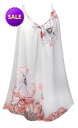 SOLD OUT! SALE! White With Pink Tea Roses Print Semi Sheer A-Line Overshirt Supersize & Plus Size Tops 3x With Liner