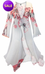 SOLD OUT! White With Pink Tea Roses Print Sheer Blouse Swimsuit Coverup Plus Size & Supersize 0x