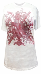 SOLD OUT! SALE! White With Swords Burgundy and Gray Distorted Burnt Out Design Plus Size T-Shirt XL* 2XL*