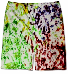 SOLD OUT! White, Yellow, Blue, Green, Magenta Tie Dye Cotton Plus Size Shorts 2x