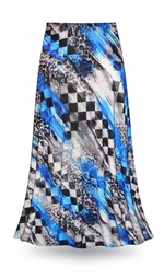 SOLD OUT! CLEARANCE! Wild Checkers in Blue Slinky Print Plus Size & Supersize Skirts! 1x