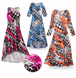 CLEARANCE! Wild Checkers Slinky Print Plus Size & Supersize Standard or Cascading A-Line or Princess Cut Dresses & Shirts 0x 6x