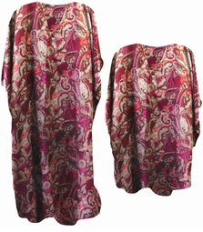 SOLD OUT!!!!!!!!! Wine Paisley Poly/Satin Plus Size & Supersize Caftan Dress or Shirt 1x to 6x