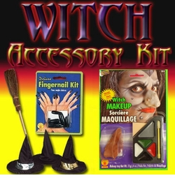 Sale! Witch Accessory Kit! Broom, Hat, Nails, Makeup, Nose