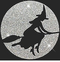 SALE! Witch on Broomstick Glittery Halloween Plus Size & Supersize T-Shirts 2xl