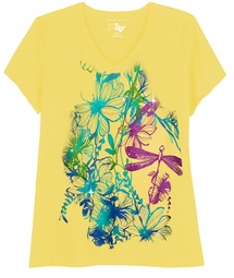 SOLD OUT! SALE! Just Reduced! Yellow Dragonflies Print Glittery Floral Plus Size T-Shirt 4x