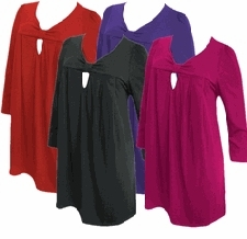 SALE! Yummy Cute Cotton Lycra 3/4 Sleeve Knot Plus Size Babydoll Tops Black - Red - Magenta - Purple 4x 5x 6x