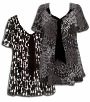 SALE! Yummy Plus Size Slinky Tie Shirts! Pretty Prints! Black Gray White Tie Neck Tops 5x