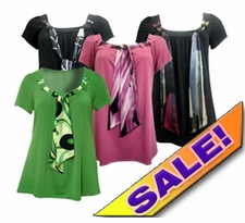 SOLD OUT! FINAL SALE! Just Reduced! Yummy Plus Size Slinky Tie Tops! Pretty Black Pink or Green With Print Ties 4x