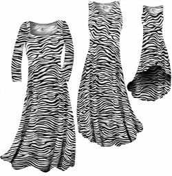 SOLD OUT! CLEARANCE! Zebra Stripes Print Slinky Plus Size & Supersize Standard or Cascading A-Line Dresses 3x