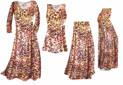 Salmon Red Ornate With Gold Metallic Slinky Print - Plus Size Slinky Dresses Shirts Jackets Pants Palazzo�s & Skirts - Sizes Lg to 9x