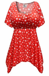 Customizable Red With White Polka Dots Glittery Slinky Print Plus Size & Supersize Babydoll Top 0x 1x 2x 3x 4x 5x 6x 7x 8x
